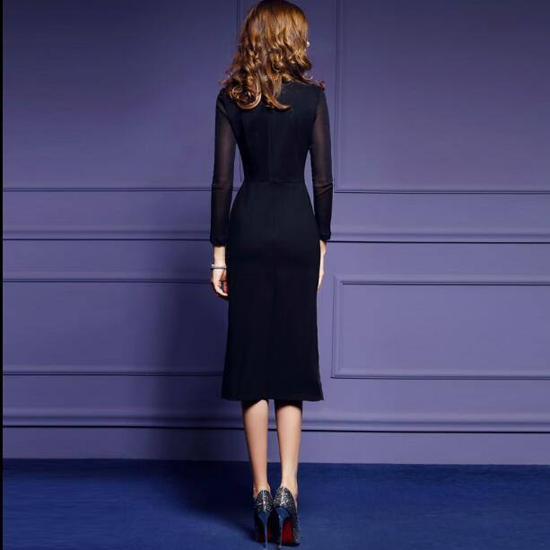 Embroidery Black Vestidos Dress 3