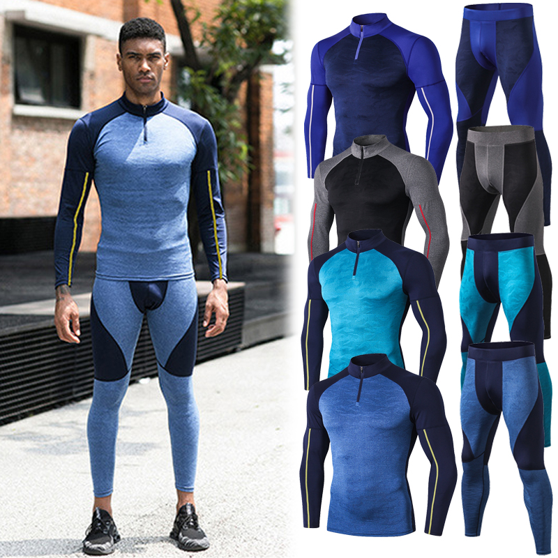 OLOME High Collar Winter Thermal Underwear Men Long Johns Set Men Leggings Quick Drying Sport Compression Underwear Thermo
