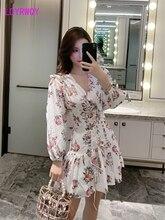 2019 autumn new French style cross strap print dress Knee-Length  Print Sheath Office Lady Lanon