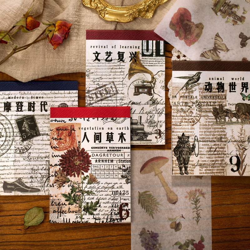Sticker Book Plant Hand Account Diary DIY Material Stickers Japanese Paper Nostalgic Era Series 4 Retro