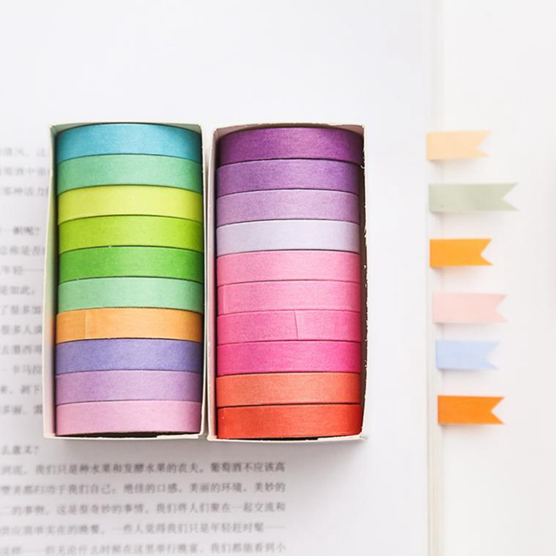 10pcs/lot  Fall Rainbow Masking Washi Tape Set Paper Masking Washi Tape Japanese Stationery Kawaii Scrapbooking Supplies Sticker 4