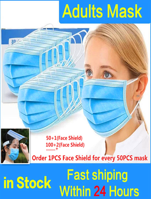 100pcs high quality Face Mask 3 Ply Protective Non-woven Proof Flu Virus Elastic Soft Breathable Hygiene Safety Mouth Facemask
