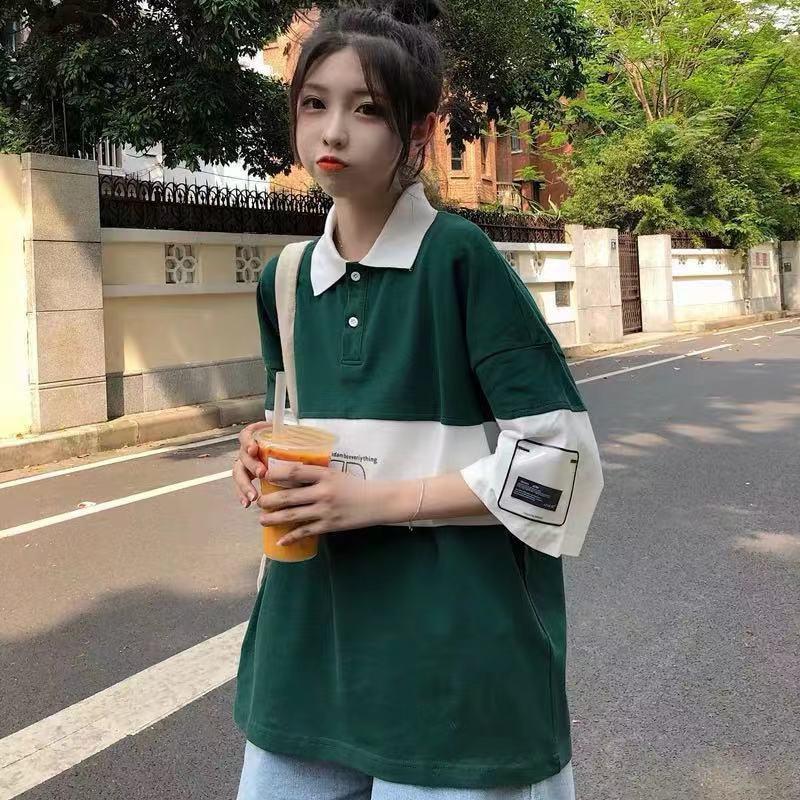 T-Shirt Women Preppy Style Turn-down Collar Loose Casual T Shirts New 2020 Summer Korean Letter Print Tee Shirt Femme P403