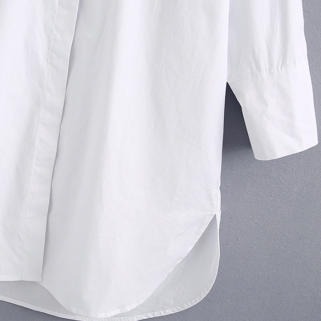 New 2020 women simply style buttons decoration casual white poplin blouse office lady side split shirts chic blusas tops LS6562 3