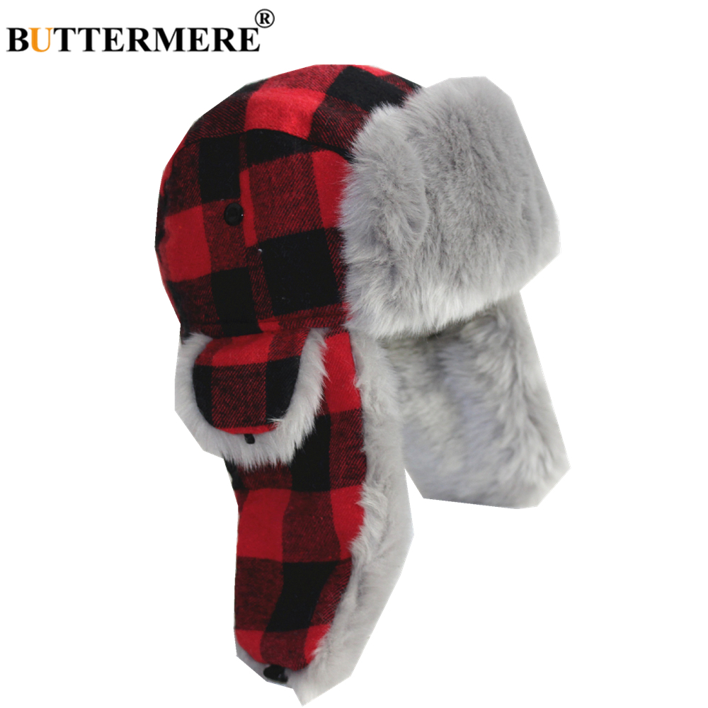 BUTTERMERE Winter Hats For Men Women Red Plaid Trapper Hat Earflap Cashmere Warm Thick Hunter Snow Ski Brand Fur Russian Cap