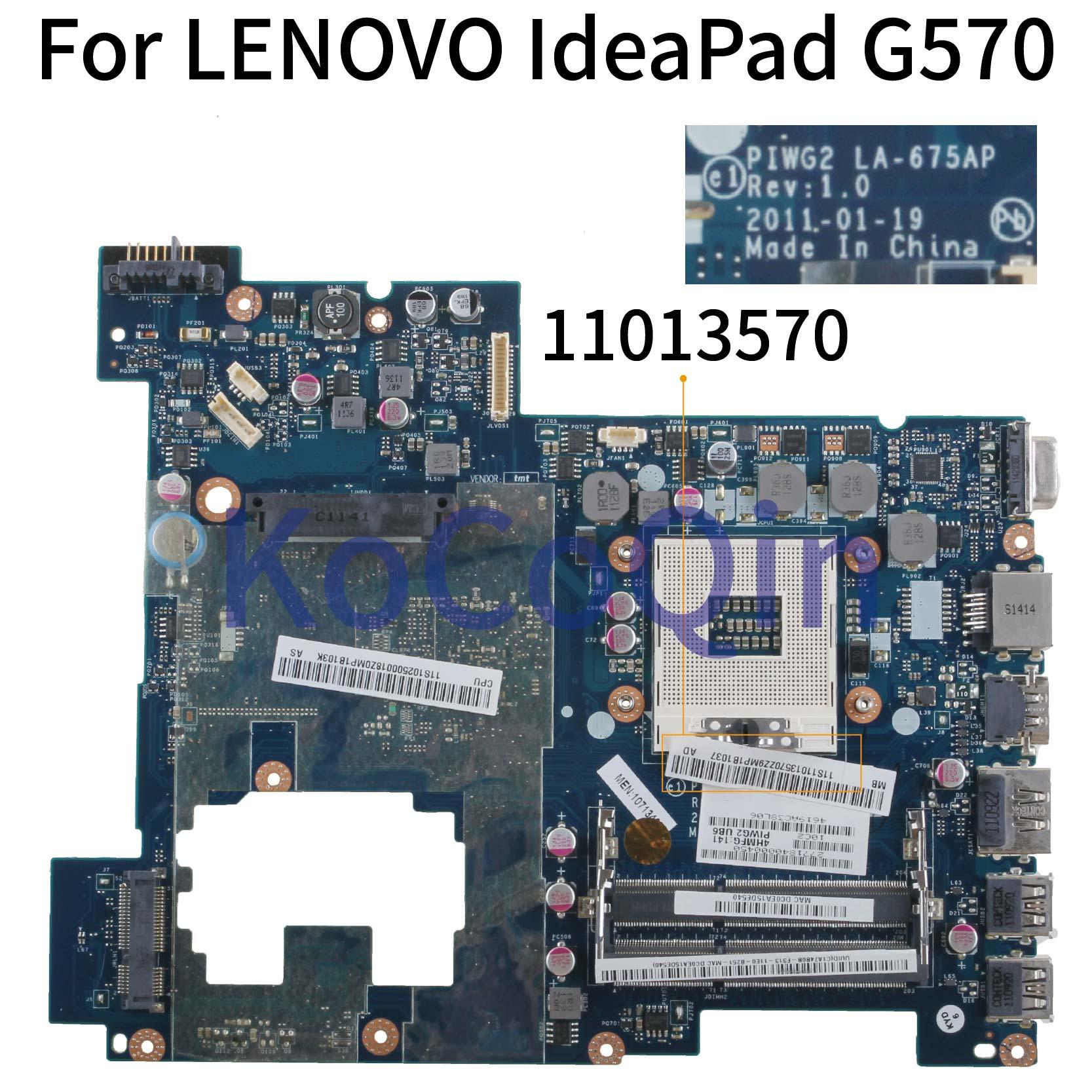 KoCoQin Laptop Motherboard For LENOVO IdeaPad G570 HM65 PGA989 HDMI Mainboard PIWG2 LA-675AP 11013570