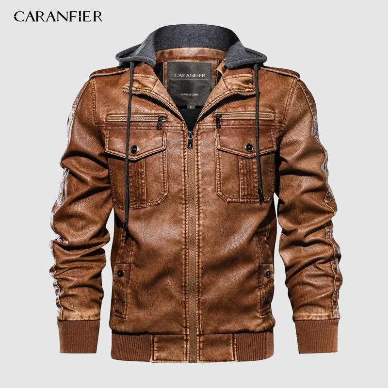 CARANFIER New Mens PU Hooded Jackets Coats Motorcycle Biker Faux Leather Jacket Men Classic Winter Jackets Clothes European Size