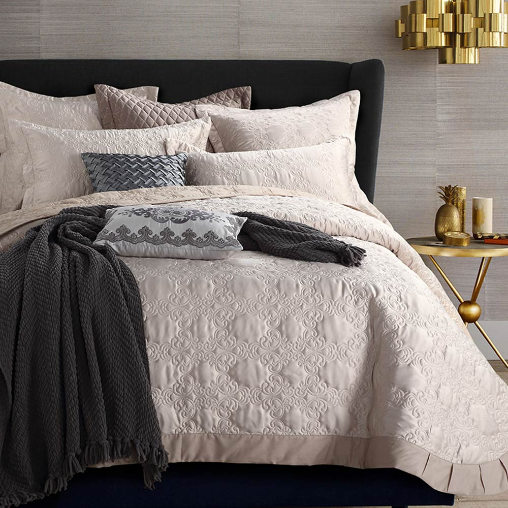 Svetanya quilted Sheet 230x250cm pillowcases set bedspread Bedcover beige Coverlet