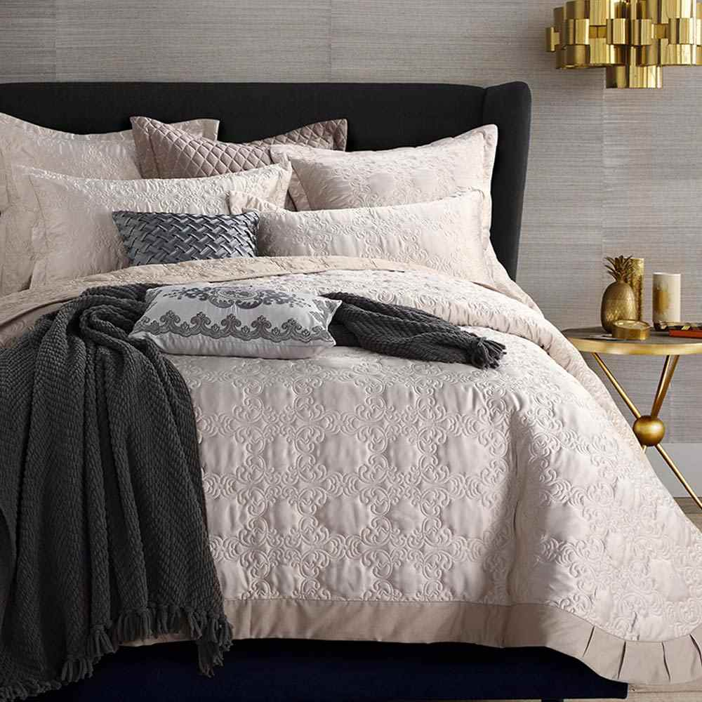 Svetanya quilted Sheet 230x250cm+pillowcases set bedspread Bedcover beige Coverlet