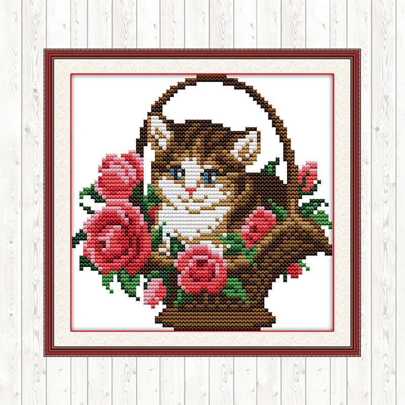 Radość niedziela kot Counted Cross Stitch tkaniny zestawy dla haft Cross Stitch DMC DIY 14CT 11CT drukowane na płótnie do robótek ręcznych aida