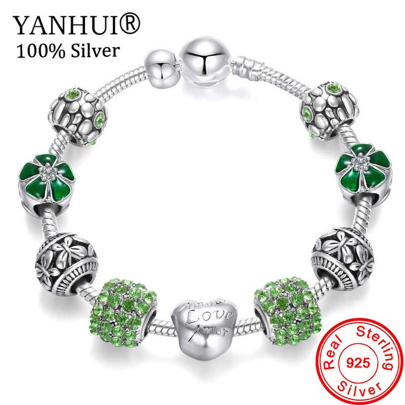 YANHUI Original 925 Solid Silver Charms Bracelets For Women DIY Crystal Flower Beads Bangles Bracelets Pulseira Jewelry GR052