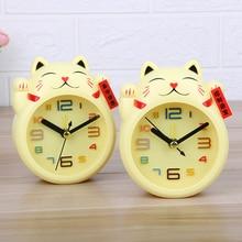 Мини-детский будильник, декоративные настольные часы для спальни с милым котом, детские пластиковые маленькие Мультяшные настольные часы