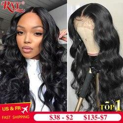 RXY Body Wave-Peluca de encaje Frontal, pelucas de cabello humano para mujeres negras, peluca Frontal de encaje 360, peluca Remy 13x6, peluca con malla Frontal de cabello humano prepunteado