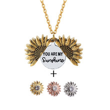 2020 You are my sunshine Sunflower Necklace Set Custom Open Locket Gold Silver Necklace Link Chain for Women Pendant Jewelry(China)