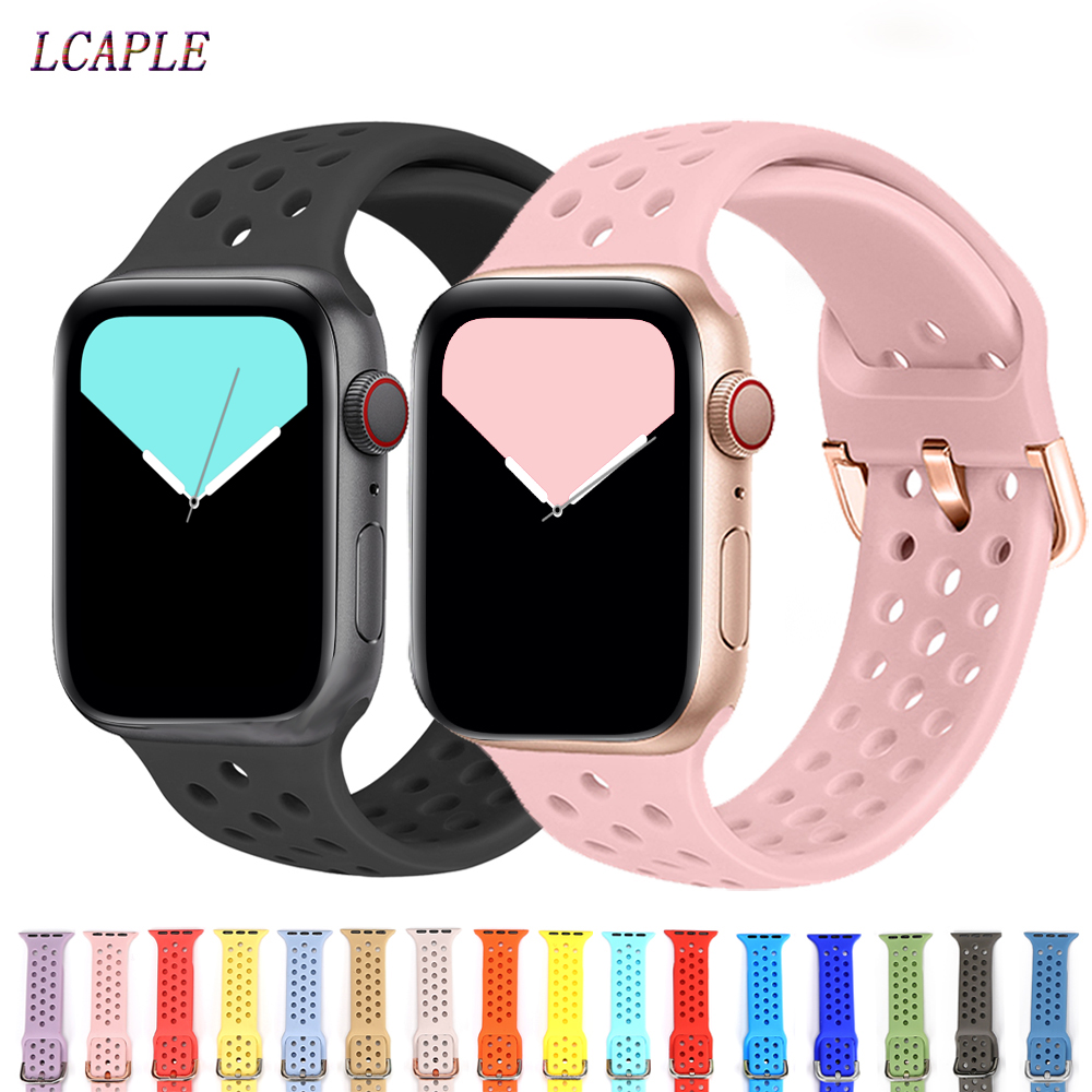 Sport Silicone Band For Apple Watch Strap Correa Apple Watch 42mm 38 Mm Iwatch Band 44mm 40mm Fashion Bracelet Watchband 5 4 3 2