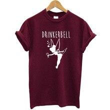 Drinker Bell Women T-shirt Cotton Short Sleeve O-neck Summer Tops Streetwear Fashion Wine T Shirt Women Funny Tee Shirt Pink cutout neck bell sleeve striped tee