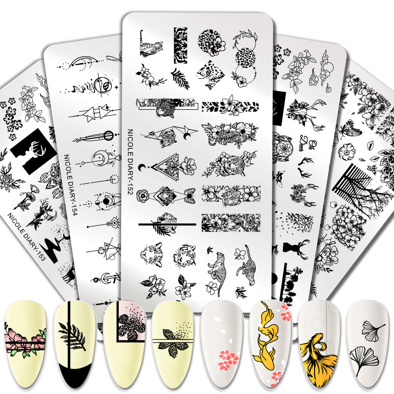 NICOLE DIARY Flower Animals Nail Stamping Plates Rectangle Floral Design Stamp Templates Nail Art Tool Printing Stencil Plant