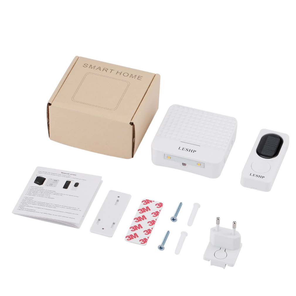 LESHP Solar Wireless Doorbell Waterproof Doorbell Kit 1000 Ft Long Range 52 Tunes 4 Levels Volume Easy Setup Plug & Play White