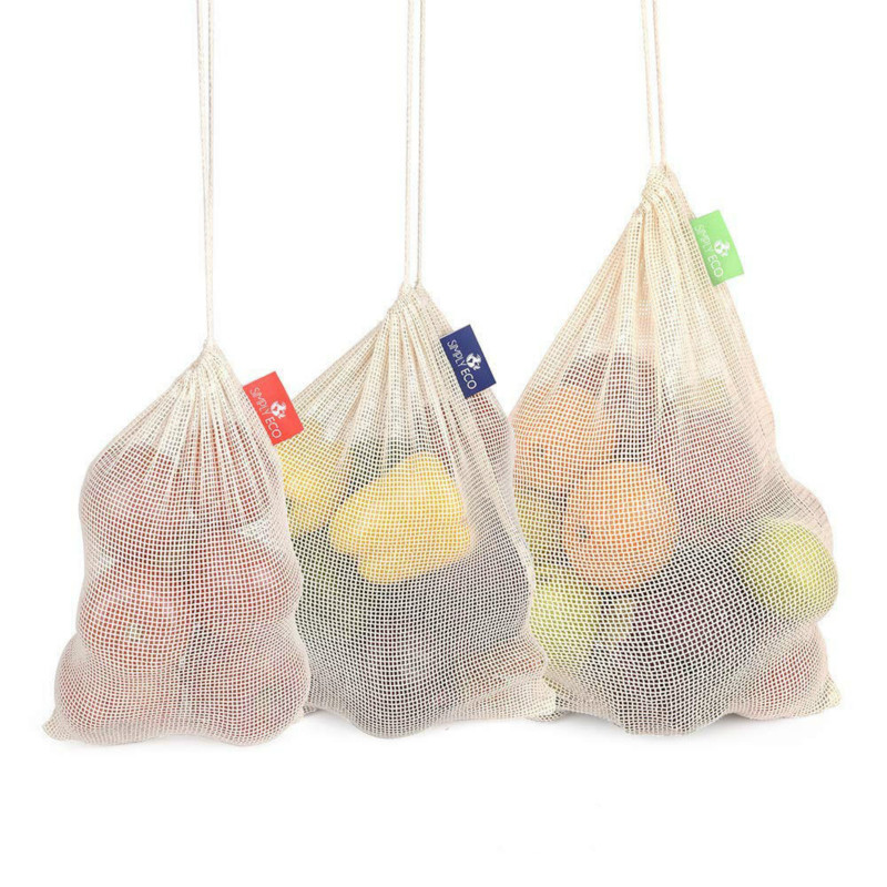 Reusable Vegetable Bags Cotton Fruit And Vegetable With Drawstring Shopping Bag Home Kitchen Storage Mesh Bags Machine Washable
