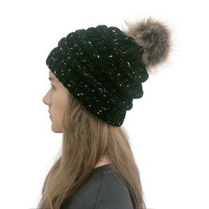 Image 2 - 女性の冬ウォームビーニー帽子とかわいいフェイクファーポンポンボールニットキャップ Skullies 屋外カジュアルスキーキャップ
