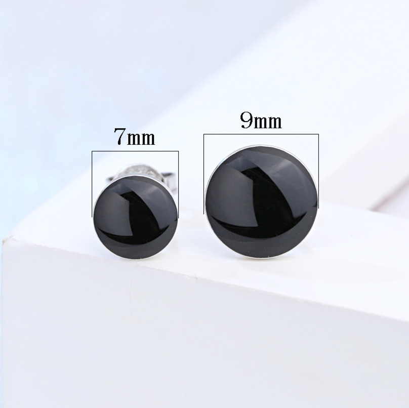Mode Exquisite 925 Sterling Splitter Runde Schwarz Vinyl Natürliche Stein Stud Ohrringe Geometrische Schmuck Für Frauen Mädchen S-E187