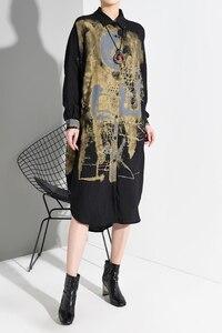 Image 4 - [Eam] feminino preto patter imprimir dividir tamanho grande camisa vestido nova lapela manga longa solto ajuste moda primavera outono 2020 1m92501