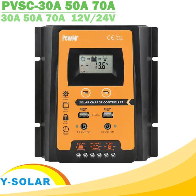30A 50A 70A MPPT PWM Solar Charge Controller 12V 24V Dual USB Solar Regulator with Big LCD IP32 PV Battery Controller Load Timer