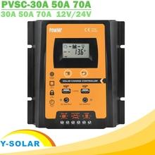 PWM солнечный контроллер заряда 30A 50A 70A MPPT 12 В 24 в двойной USB Солнечный регулятор с большим ЖК дисплеем IP32 PV Контроллер батареи таймер загрузки