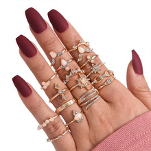 Anillo de mujer Bohemia 17 unids/set moda cristal Luna de metal corona para fiesta Vintage conjunto de anillo de joyería de Color dorado para mujer