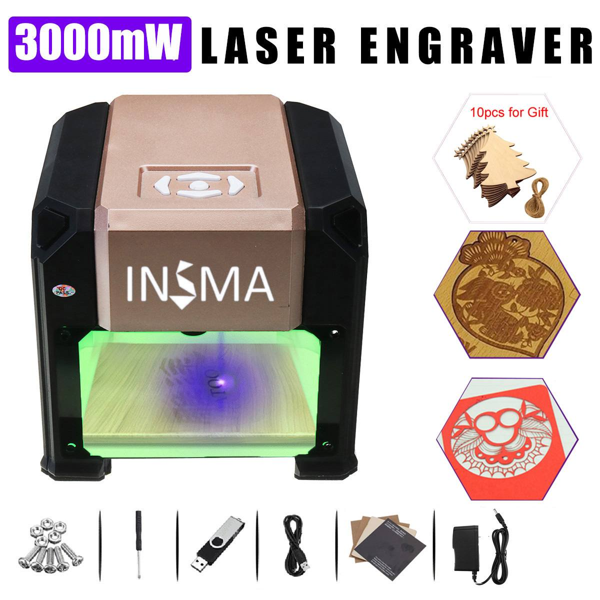 3000 MW CNC Laser Engraver DIY Logo Mark Printer Laser Engraving Carving Machine For FOR Windows For Mac OS System