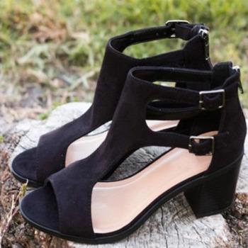 2021nowe sandały na grubym obcasie damskie letnie odkryte palce i pięta obuwie damskie przyjemny wypoczynek wysokie obcasy damskie czarne buty dla matek kobiet tanie i dobre opinie LZXGSJ Sztuczna skóra CN (pochodzenie) Podstawowe Plac heel Otwarta RUBBER Wysoka (5 cm-8 cm) Na co dzień Pasek klamra