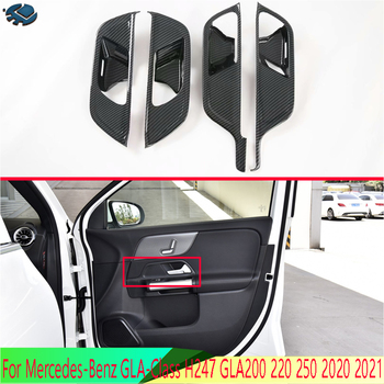 For Mercedes-Benz GLA-Class H247 GLA200 220 250 2020 2021 Carbon fiber style Inner Door Handle Cover Catch Bowl Trim image