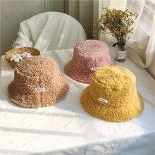 Velvet Cap Bucket-Hat Teddy Lamb Fisherman Vintage Winter Women Ear-Protector Warm Hat-Accessories