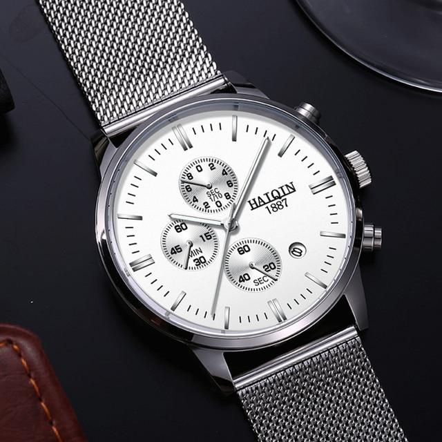 HAIQIN Business Quartz Men's watches Top brand luxury Quartz watch sports wrist watch men mesh belt clock 2019 Relogio Masculino 4