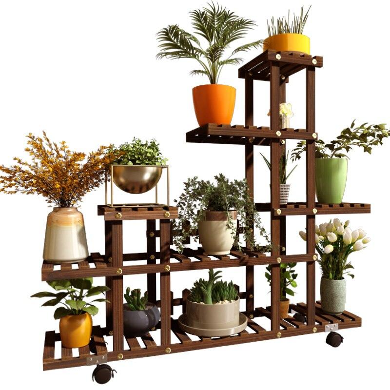 Succulent Flower Pot  Shelf Solid Wood Multi-level Falling Floor Indoor Balcony Living Room Home Green Loll Special Rack