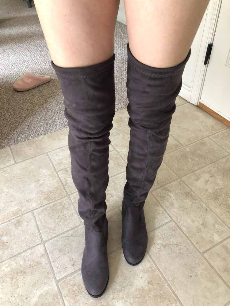 Slim Flock ต้นขาสูงแบนฤดูหนาวกว่าเข่ารองเท้าสบายสุภาพสตรีรองเท้า Dark สีเทาไวน์รองเท้าสีดำ 2019