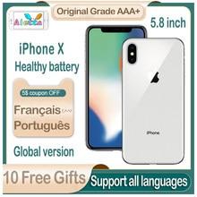 Odblokowany Apple iPhone X 5.8 cala identyfikator twarzy NFC ROM 64GB/256GB Smartphone A11 hexa-core Apple Pay