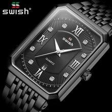 Preto relógios para homens warterproof masculino relógio de pulso de quartzo relógio de pulso masculino marca de luxo