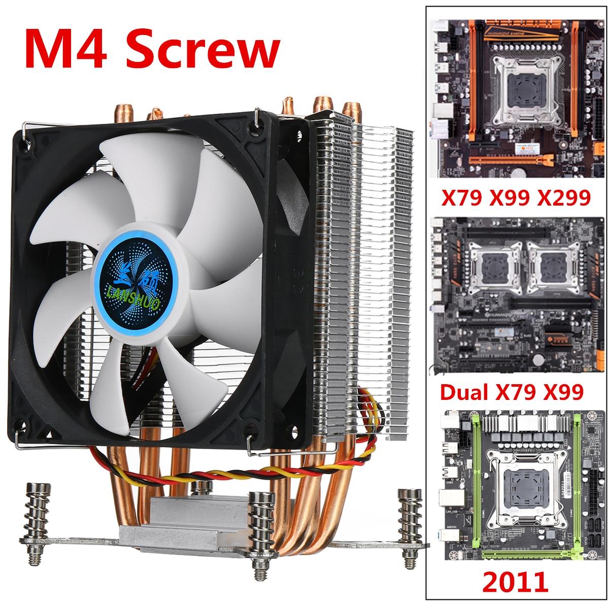 4 медный радиатор охлаждающий вентилятор для процессора 90 мм 3Pin охлаждающий вентилятор для процессора радиатор охлаждения для Intel LGA 2011 X79 X99 ...