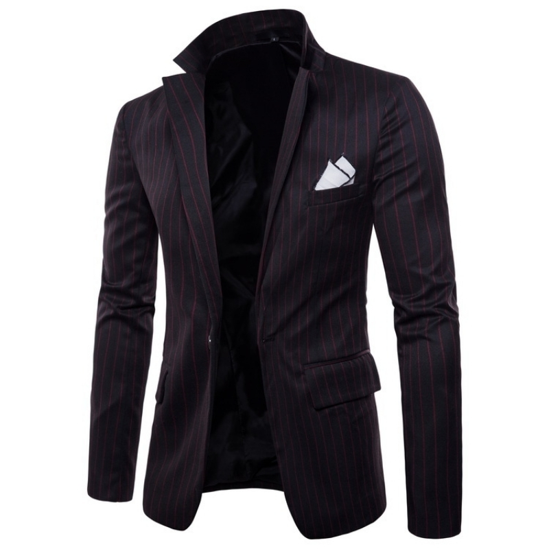 Spring Fashion Striped Men Blazer Single Button Slim Fit Suit Jacket Brand Casual Black Grey Blazer Coat Masculino Plus Size