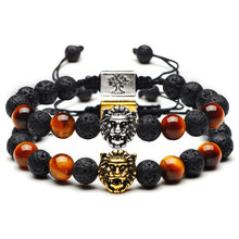 Trendy Tiger Eye Beads Black Lava Stone Bracelet Gold Silver Lion Head Tree of Life 8mm Bead Charm Women Yoga Adjustable Jewelry(China)