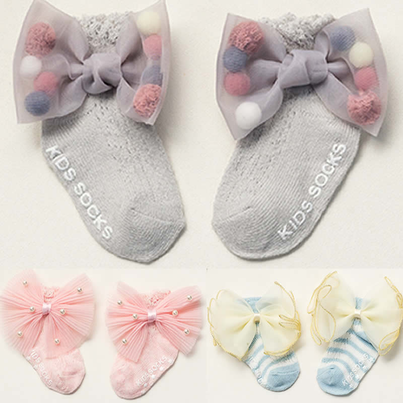 Socks Summer Neonatal Bow Cotton Socks 0-24 Months Baby Girl Socks Thin Section Summer Thin Wear