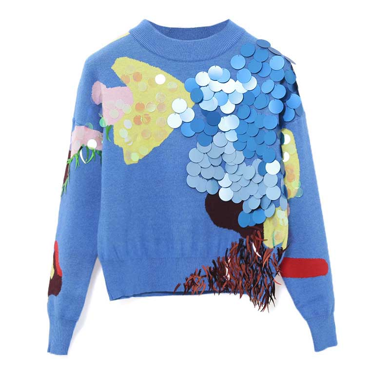 NiceMix fashion color block patchwork big sequines decoration chic sweater women pullover o neck short sweaters knitting tops