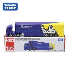 Takara Tomy Tomica otomobil uzun Ver. No.135 Michelin Motor sporları taşıyıcı kamyon Model 15cm Metal Diecast araç oyuncak çocuk