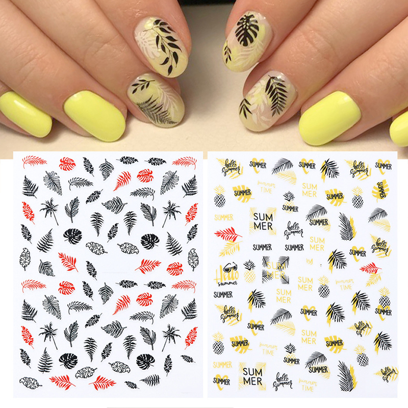 New arrived Fashion Water Decals Nail Art Stickers colorful leaf flower Nails Sticker Decorations Manicure Z0219