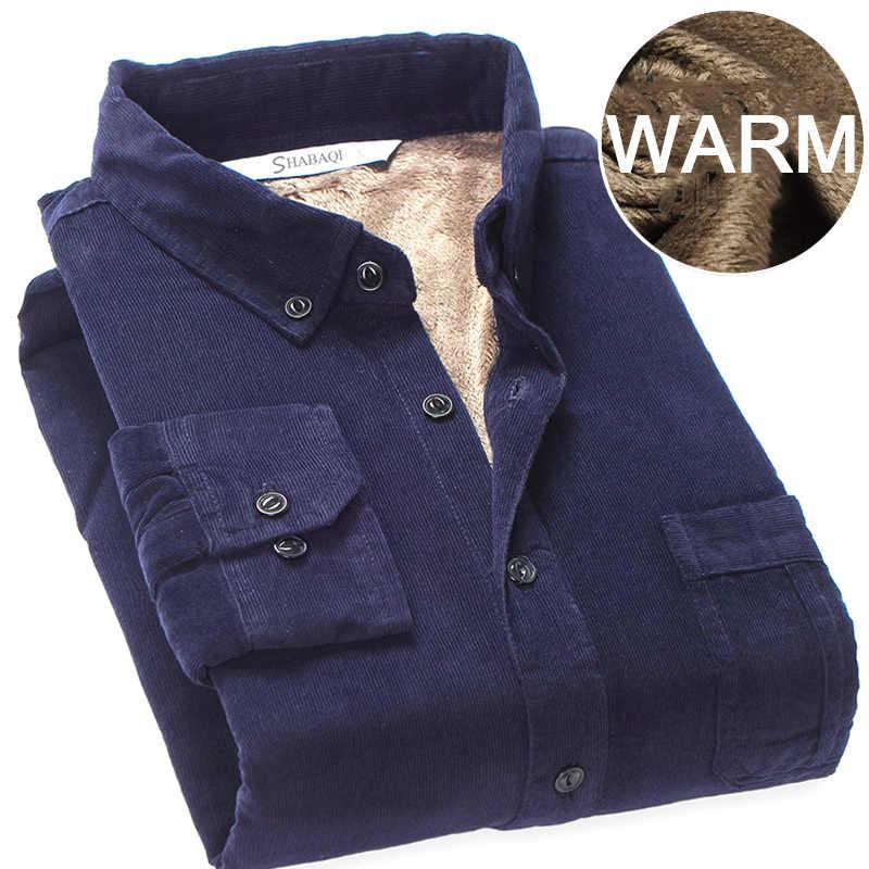 トップ品質 2019 冬暖かい底入れシャツ男性コーデュロイシャツ厚手のフリース裏地熱シャツ S-4XL