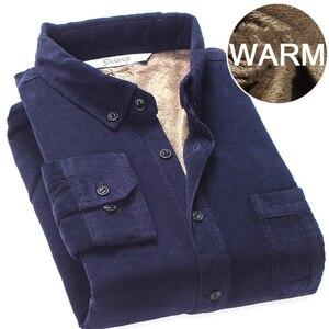 Image 5 - Высококачественная зимняя теплая рубашка 2020, Мужская Вельветовая рубашка, теплая рубашка с флисовой подкладкой