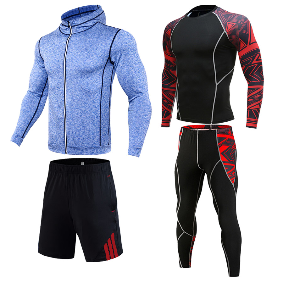 Men's Sports Suit Gym Clothing Top Compression Track Suit Men Sportswear 2-4 Piece Union Suit Tights Breathable Jogging Suit 4xl
