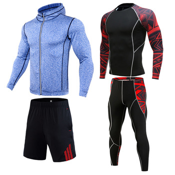 Mens sports suit Gym Clothing top Compression track Suit Men Sportswear 2-4 piece Union Tights Breathable jogging 4xl
