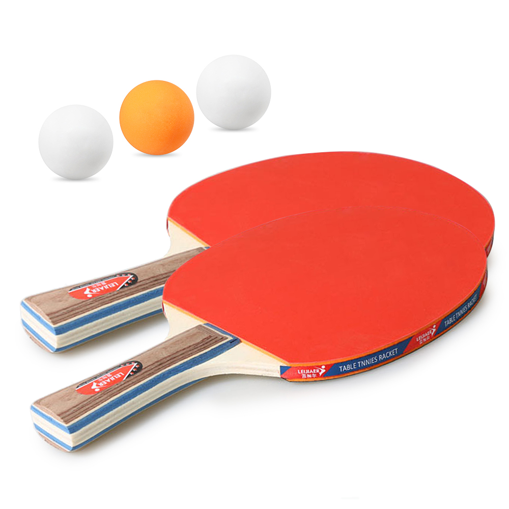 2PCSLlot Table Tennis Bat Racket Double Face Pimples In Long Short Handle Ping Pong Paddle Racket Set With Bag 3 Balls